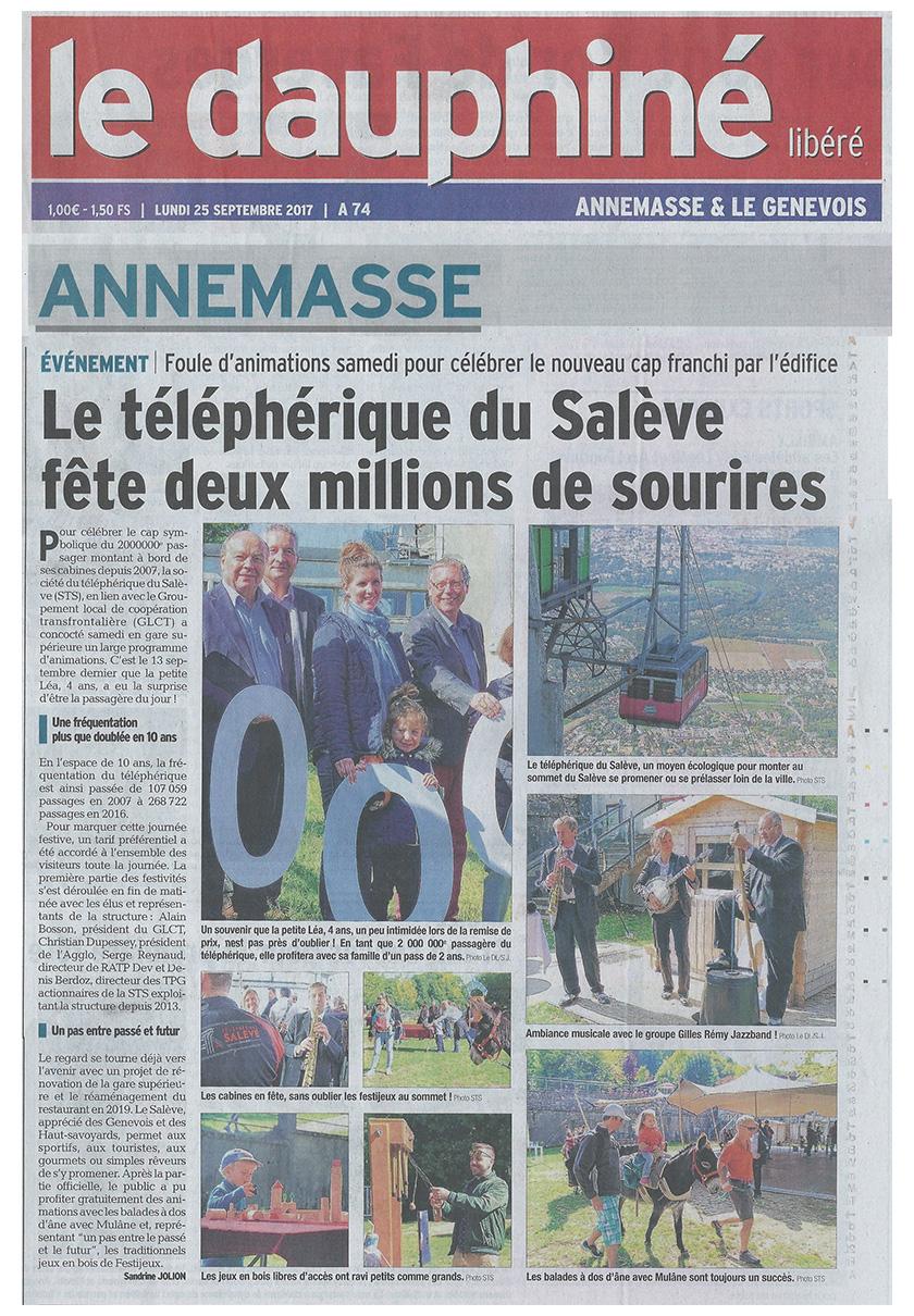 Le Dauphiné édition Annemasse & le Genevois - Le téléphérique du Salève fête deux millions de sourires