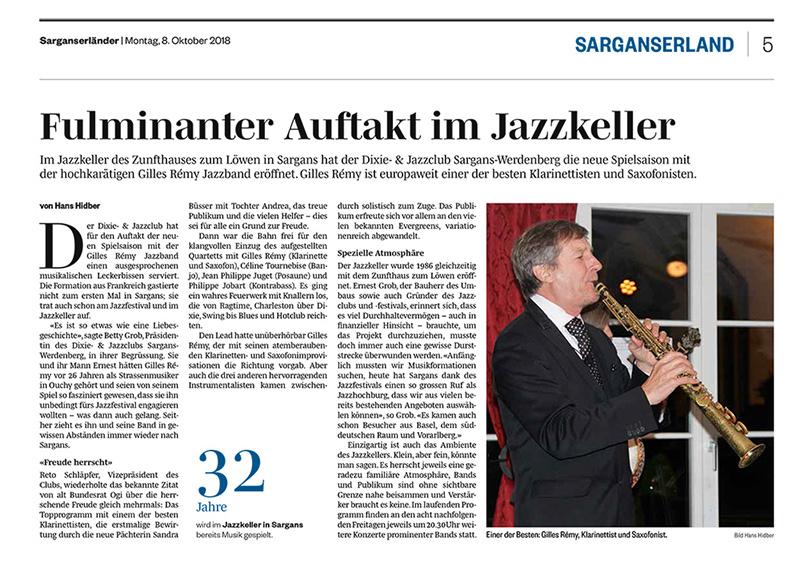 SargansLänder - Fulminanter Auftakt im Jazzkeller